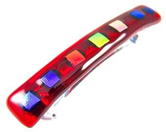 "Dichroic Barrette - Red Crimson Cranberry with Orange Gold Green Pink Purple Blue Rainbow Dichro Gemstone Polka Dots - 2.5"" 6cm Fused Glass"