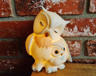 Vintage Owl Mama and Baby Plug In Lamp / Night Light