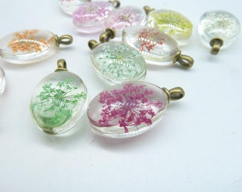 4pcs Mixed  18x25mm Oval Handmade Dried Flowers Glass Cabochon Pendant Charms With Antique bronze  bail