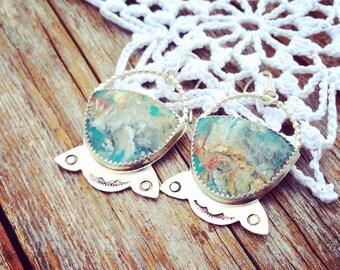 Plume Agate Sterling Silver Earrings. Native american jewelry, bohemian earrings, namaste, enlightenment, third eye, lotus blossom