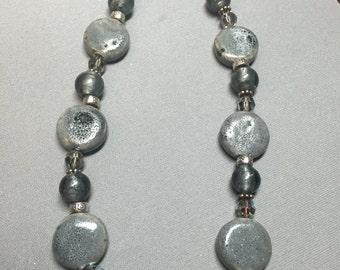 "Vintage 17"" Silvertone Grey Heavy Beaded Single Strand Necklace"