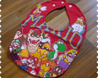Mario Characters Recycled T-Shirt Baby Bib, Video Games, Baby Boy Gift Baby Shower