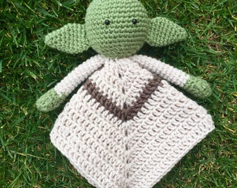 Yoda Star Wars Inspired Lovey/ Security Blanket/ Soft Toy/ Plush Doll/ Stuffed Toy/ Amigurumi Doll- MADE TO ORDER