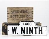 Vintage Street Sign, Porcelain Street Sign, Old Street Sign, Street Sign, Black And White Street Sign, Industrial Decor, W. Ninth