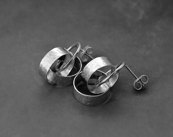 Silver stud earrings. Sterling silver earrings. Silver jewellery. Handmade