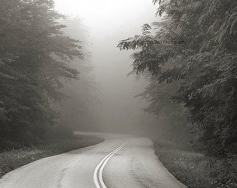 black and white photography, landscape photography, fog photography, road, Foothills Parkway, Summer, 2014