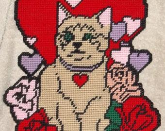 Valentine Kitty Plastic Canvas Pattern