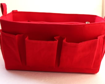 Purse organizer Fits Speedy 25- Bag organizer insert in Rich Red