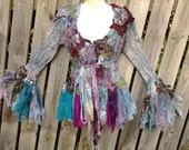 "20%OFF bohemian lagenlook gypsy boho shabby formal rock chic short stretch knit jacket..large to 48"" bust"