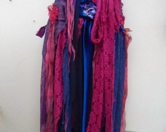 """20%OFF SALEgothic inspired extra shabby wrap skirt/shawl...a work of art 42"""" across plus ties."""
