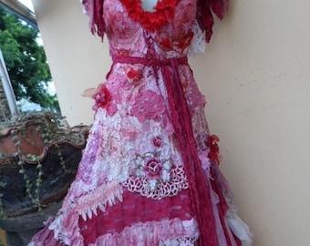 20% OFF wedding dress formal brides maid bohemian lagenlook gyspy vintage boho ..medium to 42'' bust..