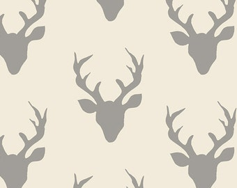 Changing Pad Cover - Hello Bear - Buck Forest in Silver - Contoured - Grey on Cream - Deer Antlers - Baby Changer - Deer Head