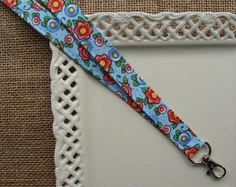 Fabric Lanyard - Mary Engelbreit - Fried Egg Flowers on Blue