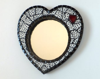 Mosaic Heart Mirror, Black & White polkadot mosaic mirror,