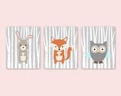 Animal Prints for Nursery, Fox Bunny Owl Nursery Decor, Woodland Creatures, Forest Friends Baby Room Decor, Print Set of 3, Gray Orange Aqua