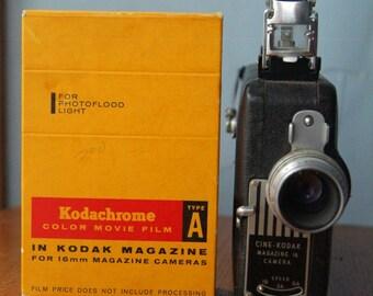 Kodak Cine-Kodak Magazine 16 Movie Camera PLUS One Kodachrome 16mm Movie Film Roll