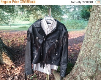 Vintage Wilsons Black Leather Fringe Jacket New Orleans Open Road Biker Motorcycle New Orleans 159.95
