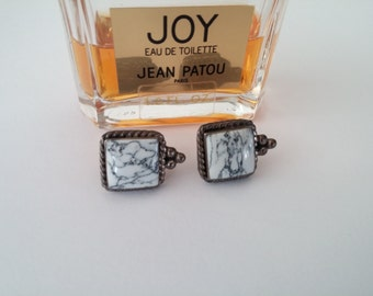 Antique Silver Tone~Black White Marble Stone Center~Square Pierced Earrings Beaded