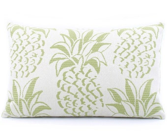 """Pineapple Throw Pillow Cover 12x20"""" Green, Tropical Decor Pillow, Pineapple Nursery, Pineapple Decorations, Gift for Her, Pineapple Grove"""