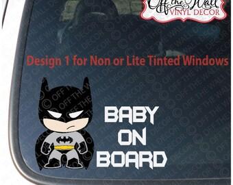 """Little Batman """"BABY ON BOARD"""" Vinyl Sticker"""