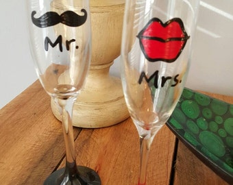 Lips and Mustache wedding flutes bridal shower flutes toasting flutes