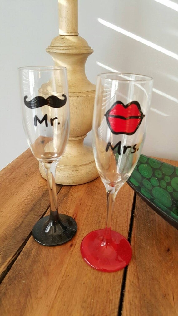 Lips and Mustache wedding flutes bridal shower flutes toasting flutes