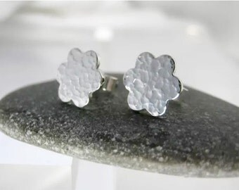 Sterling Silver Hammered Flower Petal Ear Studs -  By CMcB Jewellery