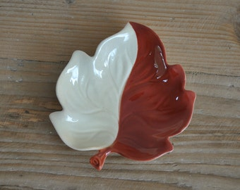 Vintage Carlton Ware china beige and brown trinket dish - Autumn leaf
