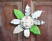 Vintage Chippy Repurposed Tin Ceiling Flower with Green + White Petals
