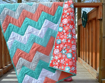 Chevron Baby Quilt in Turquoise Blue and Coral, Modern Baby Bedding, Minkee Baby Blanket, baby shower gift