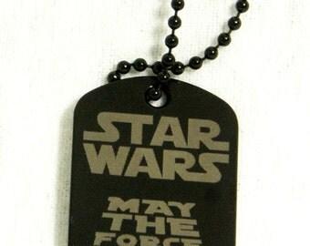 Personalized Star Wars black dog tag