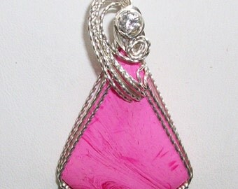 Pink Bowlerite Pendant with CZ Accent in Silver Filled Wire