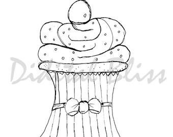 INSTANT DOWNLOAD Digi Stamps Digital Stamps Adult Coloring, Cupcake Digi, Hand Drawn Cupcake image, Card Image, Line Drawing, Scrapbooking