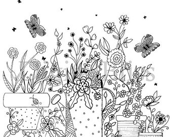 Adult Coloring Page, Instant Download, Colouring Page, Topiary Coloring Page , Kids Colouring Page, watwercolor, Kids Craft Activity