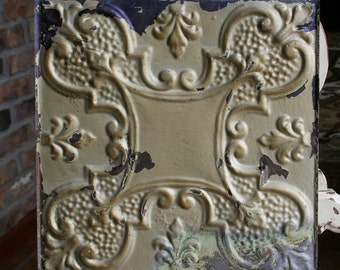 "12"" Antique Tin Ceiling Tile -- Chippy Metallic Gold Paint - Ornate Design"