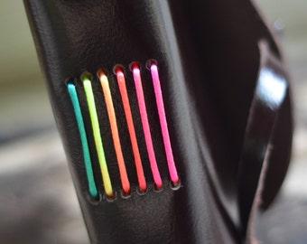"Rainbow Leather Journal / Handmade / 6x4""/ LINED or plain"