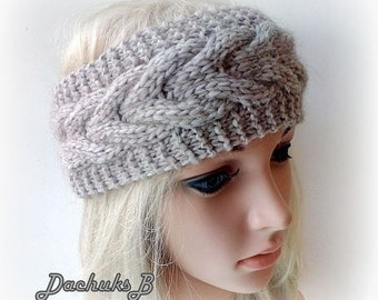 Knit Headband,  Headwrap, Earwarmer Cable Pattern Fall, Autumn,Winter Accessorie
