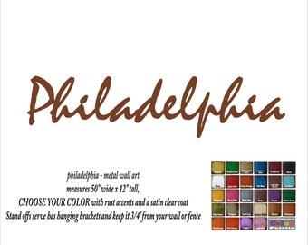 "Philadelphia - metal wall art - 50"" wide - word wall art - choose your patina color - Philadelphia wall art"