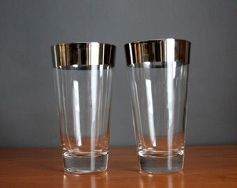 Silver Rimmed Glasses. Set of 2 Mid Century Modern Silver Rimmed Tumblers.