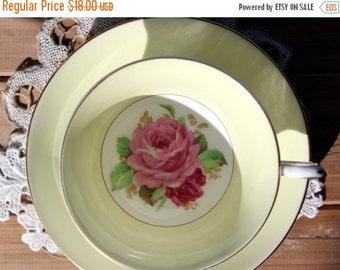 Rosina Tea Cup and Saucer, English Teacup, Bone China, Pale Yellow, Rose Motif 13595