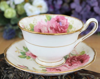 Royal Albert American Beauty, Vintage Teacups, Tea Cup and Saucer, English Bone China 12985