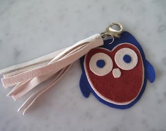 Blue Suede Owl Zipper Charm