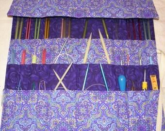 Knitting Needle Organizer, Knitting Needle Case, Knit/Crochet Needle Storage, Purple Paisley, 30 Pockets, Ready to Ship