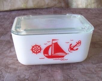 Vintage McKee refrigerator dish red sailboat design.  C2-426-.50