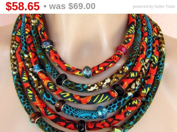 Multi Strand African Necklace Fabric Statement Necklace