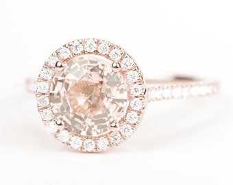CERTIFIED - GIA Certified Round Peach Pink Champagne Sapphire & Diamond Halo Engagement Ring 14K Rose Gold