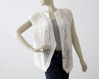 1980s crotchet vest, white sleeveless cardigan sweater