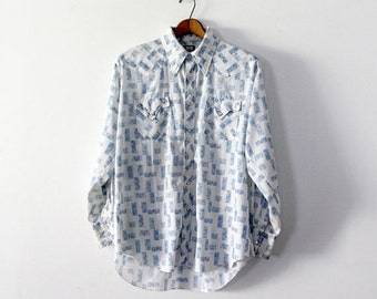 SALE vintage men's western shirt,  blue and white snap up