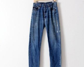 1980s Levis 501 denim jeans, vintage Levis boyfriend jeans, 32 x 36
