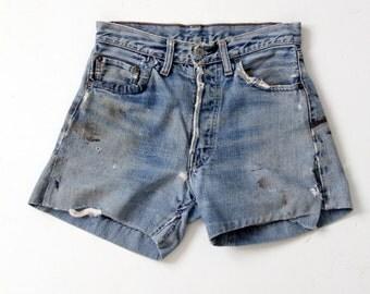 vintage Levis single stitch big E shorts, denim cut offs, Levis jorts, waist 28